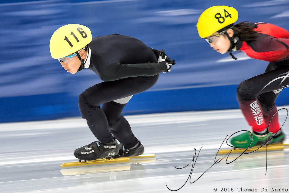 March 20, 2016 - Verona, WI - Jason Won, skater number 116 competes in US Speedskating Short Track Age Group Nationals and AmCup Final held at the Verona Ice Arena.