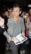 04.AUGUST.2009 - LONDON<br /> <br /> ACTOR JUDE LAW SIGNING AUTOGRAPHS AT THE THEATRE AFTER PERFORMING IN HAMLET AND TAKES EXCEPTION TO ONE GIRL IN PARTICULAR AS HE STARTED SMILING AT HER THEN SIGNED HER ARM BEFORE LEAVING THE THEATRE.<br /> <br /> BYLINE: EDBIMAGEARCHIVE.COM<br /> <br /> *THIS IMAGE IS STRICTLY FOR UK NEWSPAPERS & MAGAZINES ONLY*<br /> *FOR WORLDWIDE SALES & WEB USE PLEASE CONTACT EDBIMAGEARCHIVE - 0208 954 5968*