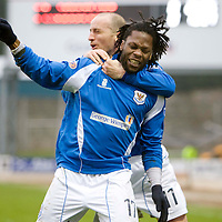 St Johnstone v Livingston....14.02.09<br /> Collin Samuel celebrates his goal with Paul Sheerin<br /> Picture by Graeme Hart.<br /> Copyright Perthshire Picture Agency<br /> Tel: 01738 623350  Mobile: 07990 594431