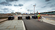 London, England - September 10, 2017: Security barriers set up on Blackfriars bridge walkway since the recent spate of Terrorist Attacks in the capital.