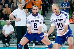 Sergey Tetyukhin and William Reid Priddy of Zenit Kazan celebrate during volleyball match between ACH Volley (SLO) and Zenit Kazan (RUS) in Playoffs 12 Round of 2011 CEV Champions League, on February 2, 2011 in Arena Stozice, Ljubljana, Slovenia. (Photo By Matic Klansek Velej / Sportida.com)