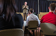 Former Ohio State University football coach and current Youngstown State President Jim Tressel addresses attendees at the Ohio University College of Business Schey Sales Centre Symposium on April 14, 2015.  Photo by Ohio University  /  Rob Hardin