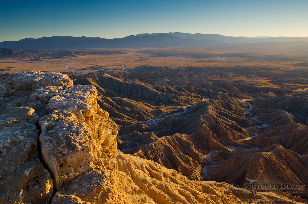 Sunset light on eroded hills at the Borrego Badlands, Fonts Point, Anza Borrego Desert State Park, San Diego County, California