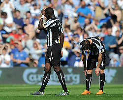 Newcastle United's Moussa Sissoko cuts a dejected figure - Photo mandatory by-line: Dougie Allward/JMP - Mobile: 07966 386802 - 16/05/2015 - SPORT - football - London - Loftus Road - QPR v Newcastle United - Barclays Premier League