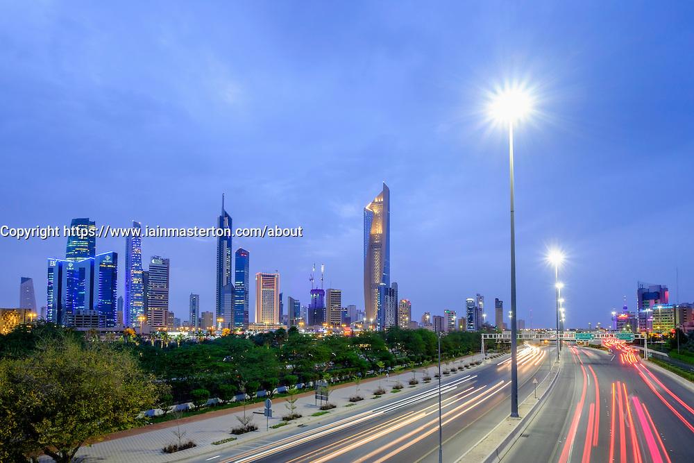 Skyline of CBD of Kuwait City in Kuwait