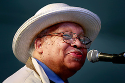 05 May 2013. New Orleans, Louisiana,  USA. <br /> New Orleans Jazz and Heritage Festival. JazzFest.<br /> Legendary Jazz pianist Ellis Marsalis plays the Jazz tent.<br /> Photo ©; Charlie Varley/varleypix.com