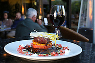 BRENDAN FITTERER  |  VISIT FLORIDA<br /> The petite filet, with Creekstone Farms beef tenderloin, roasted portobello mushroom, sliced tomatoes, horseradish sauce, and aged balsamic drizzle at Mattison's City Grille downtown Sarasota, 1 North Lemon Ave Sarasota, FL 34236.