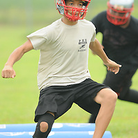 Members of the Pender High School football team practice at the school Friday August 1, 2014. (Jason A. Frizzelle)