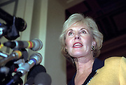 Republican Rep. Jennifer Dunn of Washington speaks to the media after she lost her attempt to replace Dick Army as Majority leader November 18, 1998 in Washington, DC. Army, a Texan who has been majority leader since the Republicans gained control of the House in the 1994 elections, defeated Largent and Dunn after three ballot.
