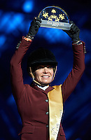 DOHA, QATAR - MARCH 07:  Edwina Tops-Alexander holds the trophy on the podium during the CHI AL SHAQAB 2015 at AL SHAQAB on March 07, 2015 in Doha. Qatar. (Photo by Manuel Queimadelos)