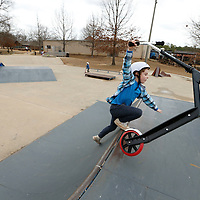 Thomas Wells   BUY AT PHOTOS.DJOURNAL.COM<br /> beckett Fowler, 6, of Oxford enjoys an afternoon at the skatepark at Ballard Park in Tupelo Monday afternoon. His parents Anna nad Denver wanted to let him try a different skate park and spend the day in Tupelo as a way to get out of town for the day.
