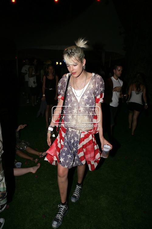 17th April 2009. Indio, California. British model Agyness Deyn, in the VIP area at the Coachella Music Festival..PHOTO © JOHN CHAPPLE / REBEL IMAGES.tel +1 310 570 9100    john@chapple.biz