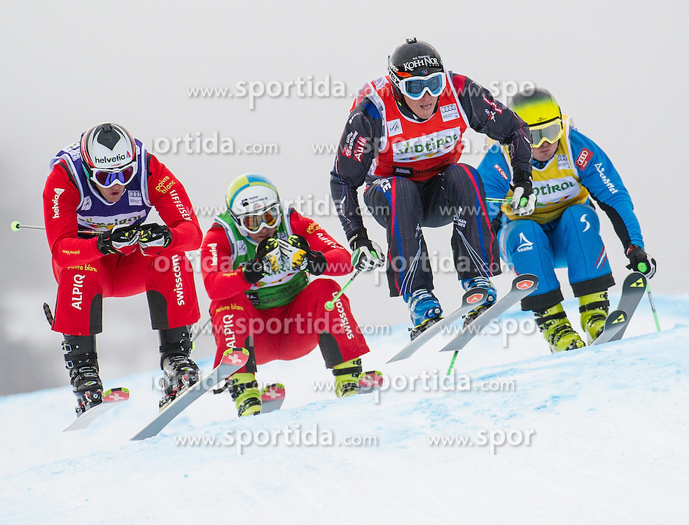22.12.2013, Haunold Innichen, Wien, ITA, FIS Ski Cross Weltcup, Achtelfinale der Herren im Bild Alex Fiva (SUI, blue), Jean Frederic Chapuis (FRA, red), Patrick Gasser (SUI, green), Franz Promok (AUT, yellow) // during eight finals of men of FIS Ski Cross World Cup at Haunoldi, San Candido, 2013-12-22, EXPA Pictures © 2013 PhotoCredit: EXPA/ Michael Gruber