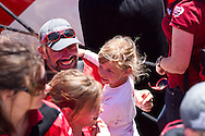 SOUTH AFRICA, Cape Town. 27th November 2011. Volvo Ocean Race. CAMPER with Emirates Team New Zealand arrives in Cape Town second in Leg 1. Stuart Bannatyne with family.
