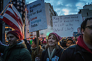 Protesters march at the Anti-Trump rally in Lower Manhattan, after the Trump administration implemented a ban on entry to citizens of 7 Muslim-majority nations into the United States.  New York, New York, USA.  29 January 2017