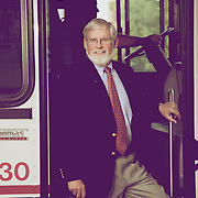 Photos of University of Utah President Dave Pershing exiting a bus on the U of U Campus at the top of President's Circle in Salt Lake City, Utah Monday August 13, 2012. (Photo by August Miller).