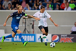 SINSHEIM, GERMANY - Tuesday, August 15, 2017: Liverpool's Roberto Firmino and TSG 1899 Hoffenheim's Kevin Vogt during the UEFA Champions League Play-Off 1st Leg match between TSG 1899 Hoffenheim and Liverpool at the Rhein-Neckar-Arena. (Pic by David Rawcliffe/Propaganda)