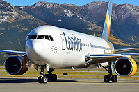 Condor Boeing 767 taxis on the ramp at Erik Nielsen Whitehorse International Airport