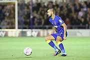 AFC Wimbledon defender George Francomb (7) dribbling during the EFL Sky Bet League 1 match between AFC Wimbledon and Gillingham at the Cherry Red Records Stadium, Kingston, England on 12 September 2017. Photo by Matthew Redman.