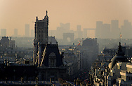 France. Paris. elevated view.   saint Antoine street and le marais  view from Church Saint-Paul-Saint-Louis bell tower ,