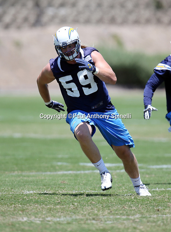 San Diego Chargers rookie linebacker Brock Hekking (59) chases the action during the San Diego Chargers Spring 2015 NFL minicamp practice held on Tuesday, June 16, 2015 in San Diego. (©Paul Anthony Spinelli)