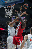 Real Madrid Walter Tavares and Crvena Zvezda Mathias Lessort during Turkish Airlines Euroleague match between Real Madrid and Crvena Zvezda at Wizink Center in Madrid, Spain. December 01, 2017. (ALTERPHOTOS/Borja B.Hojas)