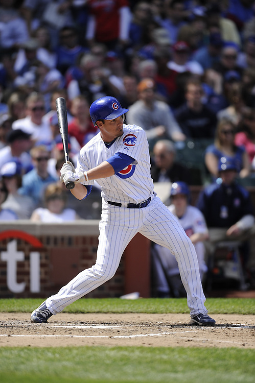 CHICAGO - APRIL 16:  Ryan Theriot #2 of the Chicago Cubs bats against the Houston Astros on April 16, 2010 at Wrigley Field in Chicago, Illinois.  The Cubs defeated the Astros 7-2.  (Photo by Ron Vesely)