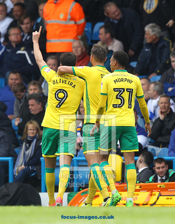 Nelson Oliveira of Norwich celebrates scoring his sides 3rd goal during the Sky Bet Championship match at Elland Road, Leeds<br /> Picture by Paul Chesterton/Focus Images Ltd +44 7904 640267<br /> 29/04/2017