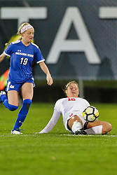 NORMAL, IL - October 17:  Caitlyn Eddy & Nataline Vaughn-Low during an NCAA Missouri Valley Conference (MVC)  women's soccer match between the Indiana State Sycamores and the Illinois State Redbirds October 17 2018 on Adelaide Street Field in Normal IL (Photo by Alan Look)