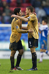 Wigan, England - Sunday, January 21, 2007: Everton's Mikel Arteta and James Beattie celebrate their side's 2-0 victory over Wigan Athletic during the Premier League match at the JJB Stadium. (Pic by David Rawcliffe/Propaganda)