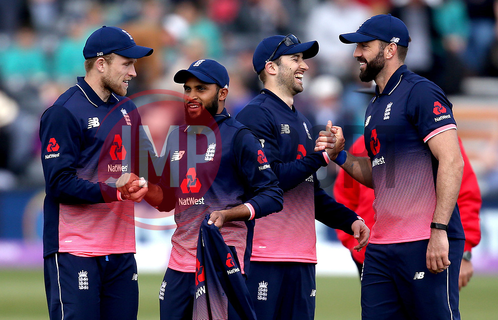 Adil Rashid of England celebrates with teammates taking a five for and taking the final Ireland wicket - Mandatory by-line: Robbie Stephenson/JMP - 05/05/2017 - CRICKET - Brightside County Ground - Bristol, United Kingdom - England v Ireland - Royal London One Day Cup