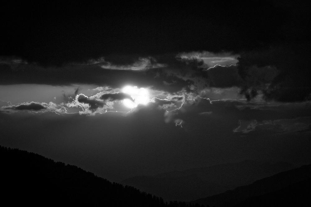 Sunset above Embrun on the Aiguilles de Chabirere.