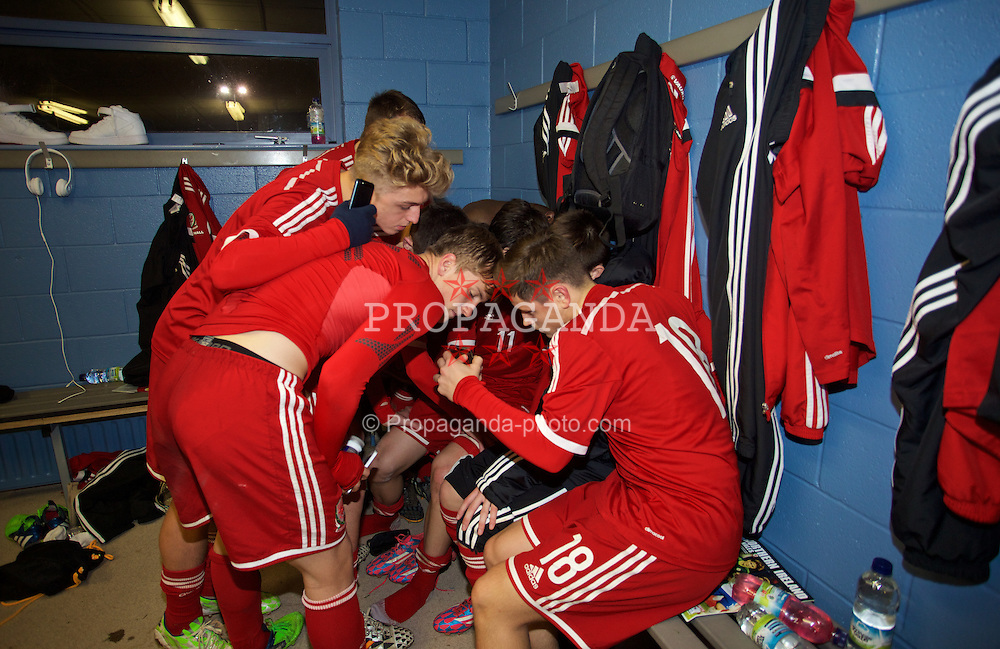 BALLYMENA, NORTHERN IRELAND - Thursday, November 20, 2014: Wales' Liam Cullen watches his goal with team-mates in the dressing room after the 2-0 win over Northern Ireland during the Under-16's Victory Shield International match at the Ballymena Showgrounds. (Pic by David Rawcliffe/Propaganda)