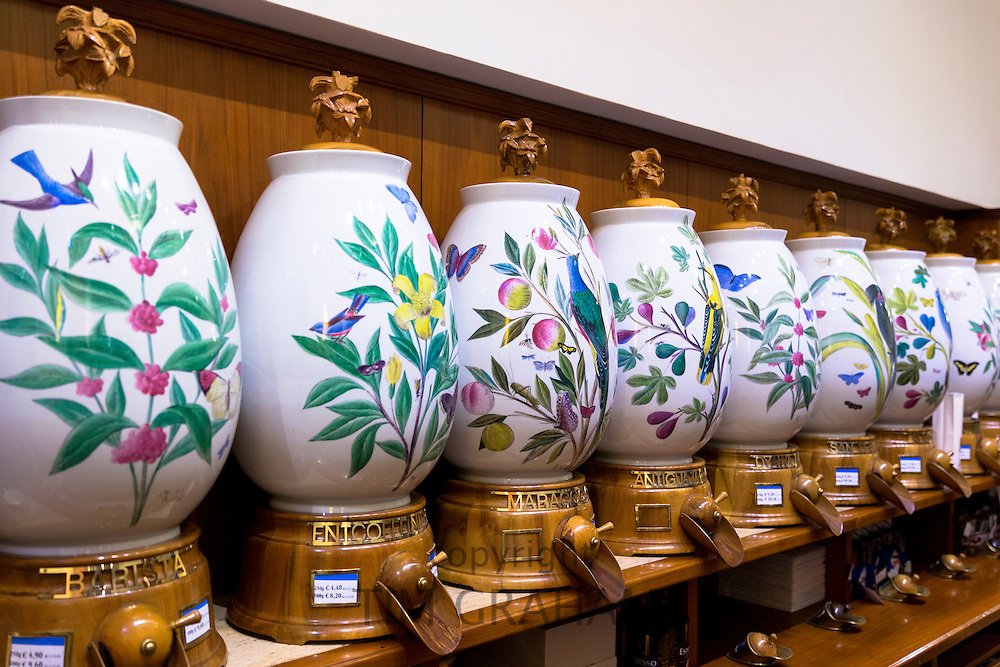 Porcelain coffee dispensers in the famous Dallmayr food store in Munich, Bavaria, Germany