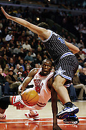 NBA Basketball, Chicago Bulls vs Orlando Magic.Chicago's Luol Deng (9), left, with Orlando's Hedo Turkoglu (15)..