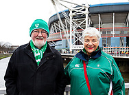 Ireland fans enjoying the pre match atmosphere <br /> <br /> Photographer Simon King/Replay Images<br /> <br /> Six Nations Round 5 - Wales v Ireland - Saturday 16th March 2019 - Principality Stadium - Cardiff<br /> <br /> World Copyright © Replay Images . All rights reserved. info@replayimages.co.uk - http://replayimages.co.uk