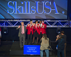 The 2017 SkillsUSA National Leadership and Skills Conference Competition Medalists were announced Friday, June 23, 2017 at Freedom Hall in Louisville. <br /> <br /> Occupational Health and Safety - Single<br /> <br /> Team D (consisting of VANESSA JEFFERSON, MICHAEL HALL, JOSE LINAREZ)<br />   High School Dubiski Career High School<br />   Gold Grand Prairie, TX<br /> Occupational Health and Safety - SingleTeam B (consisting of Samantha Wagner, Alyssa Edgar, Yesenia Rodriguez Sanchez)<br />   High School Union County Vo-Tech<br />   Silver Scotch Plains, NJ<br /> Occupational Health and Safety - SingleTeam J (consisting of Nathan A Neal, Christine Destefano, Tatyana M Foskey)<br />   High School Upper Cape Regional<br />   Bronze Bourne, MA