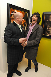 PAUL KARSLAKE and RONNIE WOOD at an exhibition of artist Paul Karslake's work entitled Ideas & Idols, held at Scream, 34 Bruton Street, London W1 on 21st February 2008.<br />