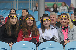 Parke Keelogues fans Aine Mallon, Kerry O&rsquo;Donnell, Victoria Ralph and Lara Tolan during the U14 B Championship final at Mac Park.<br />
