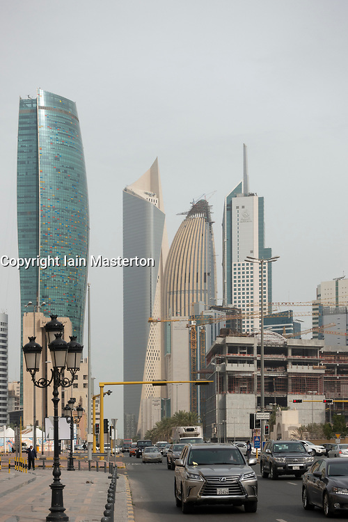 View of traffic and skyline of downtown Kuwait City in Kuwait.