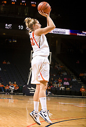 Virginia forward Kelly Hartig (42) shoots a jump shot against Colorado.  The #16 ranked Virginia Cavaliers women's basketball team defeated the Colorado Buffaloes 77-43 at the John Paul Jones Arena on the Grounds of the University of Virginia in Charlottesville, VA on November 24, 2008.