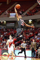 08 November 2015: Hoop, there it is.  DeVaughn Akoon-Purcell(44) down the middle, untouched for the slam. Illinois State Redbirds host the Southern Indiana Screaming Eagles and beat them 88-81 in an exhibition game at Redbird Arena in Normal Illinois (Photo by Alan Look)