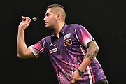 Jelle Klaasen during the Betway Premier League Darts at the Manchester Arena, Manchester, United Kingdom on 23 March 2017. Photo by Mark Pollitt.