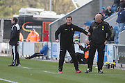 Burton manager Nigel Clough getting animated on the touchline in the Sky Bet League 1 match between Colchester United and Burton Albion at the Weston Homes Community Stadium, Colchester, England on 23 April 2016. Photo by Nigel Cole.