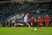 Daryl Murphy of Bolton Wanderers penalty missed during the EFL Sky Bet League 1 match between Bolton Wanderers and Milton Keynes Dons at the University of  Bolton Stadium, Bolton, England on 16 November 2019.