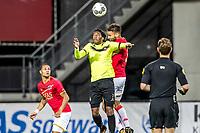 ALKMAAR - 12-09-2017, Jong AZ - Telstar, AFAS Stadion, 2-2, Telstar speler Gerson Rodriques, Jong AZ speler Pantelis Hatzidiakos