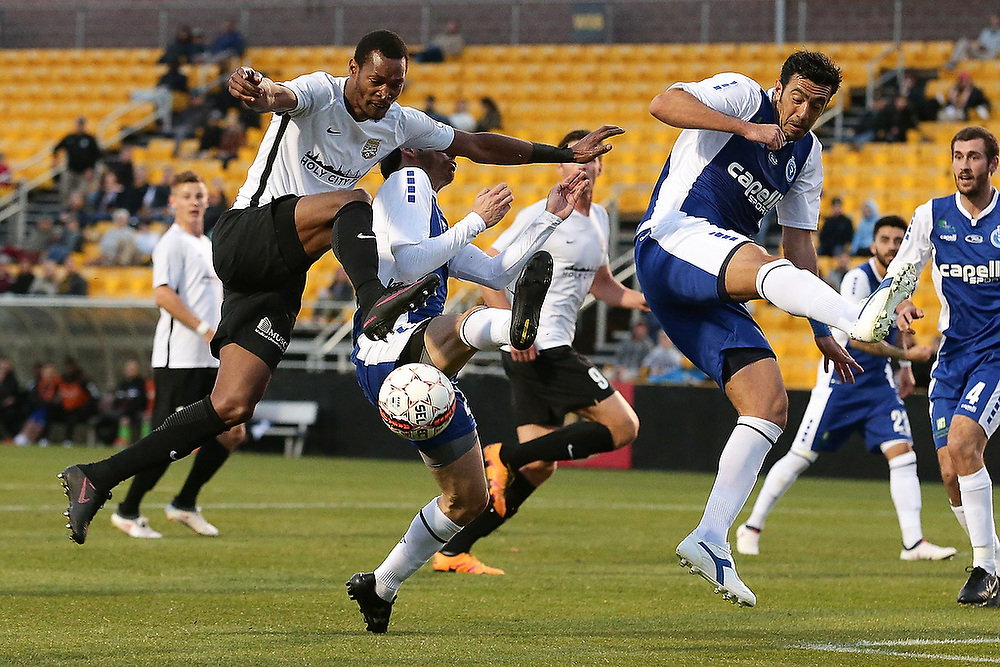 Charleston's Ataulla Guerra (10) attempts to shoot the ball during the first half. <br /> Penn FC vs. Charleston Battery at MUSC Health Stadium in Charleston, S.C. on Saturday, March 24, 2018.<br /> Zach Bland/Charleston Battery