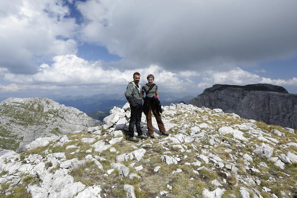 Via Dinarica team, Kenan Muftic and Elma Okic on Zla Kolata / Maja e Keq 2535m, peak, Albania and Montenegro border.