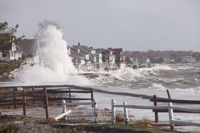 Huge waves from the tidal surge from Hurricane Sandy, crashing on Middle Beach Road in Madison, Connecticut.