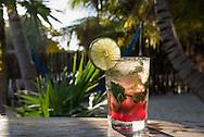 A cocktail at the Villa Pescadores beach club in Tulum, Mexico.
